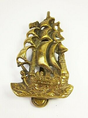 Vintage brass large ship door knocker galleon nautical