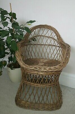 Vintage Mid Century Wicker Rattan Willow Chair (child's) Plant Stand