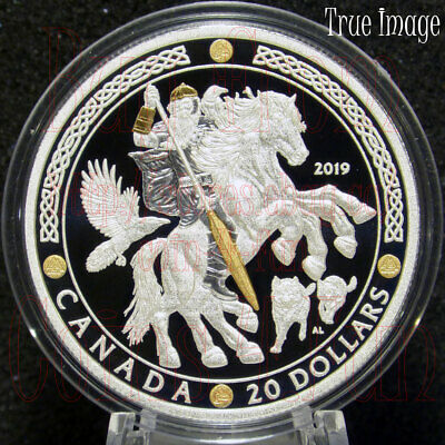 2019 Norse Gods #2 - Odin - $20 1 OZ Proof Pure Silver Gold-Plated Coin - Canada