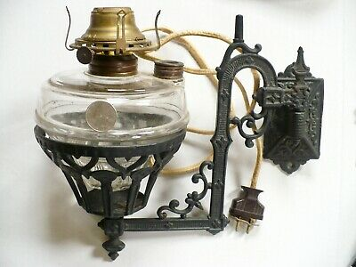 """10"""" Electrified East Lake Antique Cast Iron Wall Sconce & Holder 3' Chord No 2"""