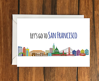 Let's Go to San Francisco Holiday Gift Idea greeting card A6