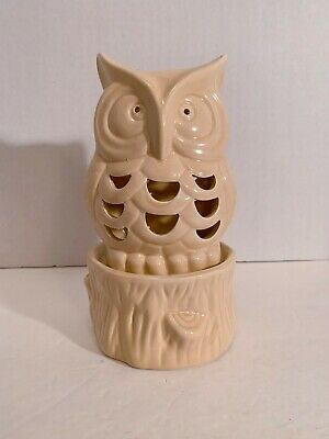 Owl Tea Candle Holder Light Brown Two Piece