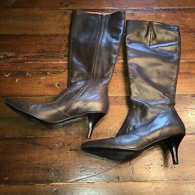 812d98df727 J.CREW BRITTEN TALL Flat Boots BROWN Leather Size 8 350.00 - $93.00 ...
