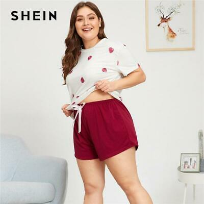 5e1a765d4f SHEIN BLACK GRAPHIC Tee Frilled Striped Shorts PJ Round Neck Short ...