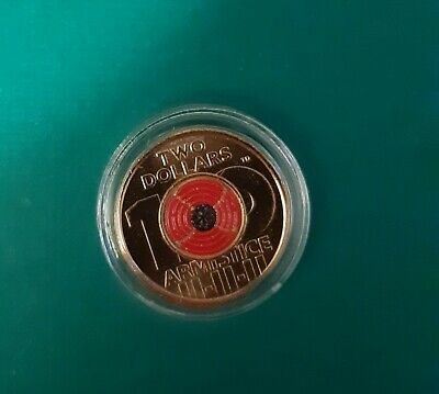 2018 Armistice Red Poppy $2 Coin In Brand New Capsule Latest  Release