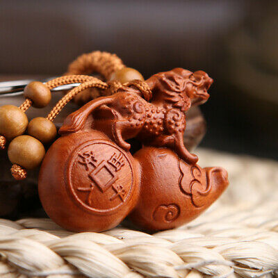 Wood 3D Carved Chinese Pixiu Calabash Wealth Statue Pendant Key Chain Keyring
