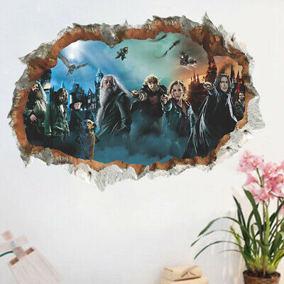 3d hole vivid harry potter hogwarts wall stickers wizarding world for kids room