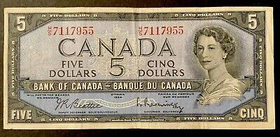 1954 - Five Dollar Canadian Banknote - 5$, Bank Of Canada