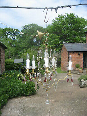 5 Branch French Chandelier Brass & Crystal Drops With Red Drops Superb  /4112