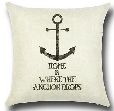 ANCHOR 'Home Is Where..'Cotton-Linen CUSHION COVER Beach Hut BOAT Camper UK Sale