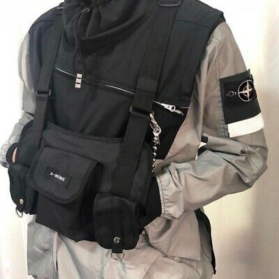 Fashion Nylon Chest Rig Bag Black Vest Hip Hop Streetwear Functional Tactical AU