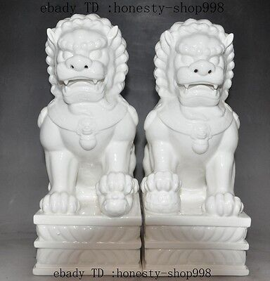 Chinese Dehua white Porcelain Guardian Door Foo Fu Dog Lion beast Statue Pair