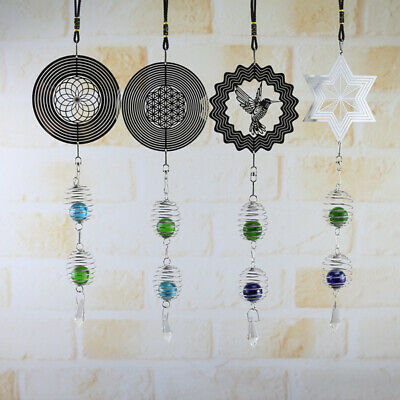 3D Metal Hanging Wind Spinner Wind Chime &Helix Tail Glass Ball Center Art Decor
