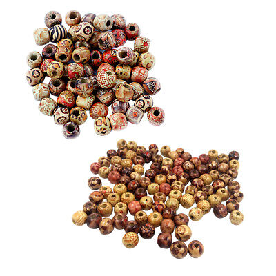 200pcs Wooden Round Beads Loose Spacer for Jewelry Making DIY Craft Supplies