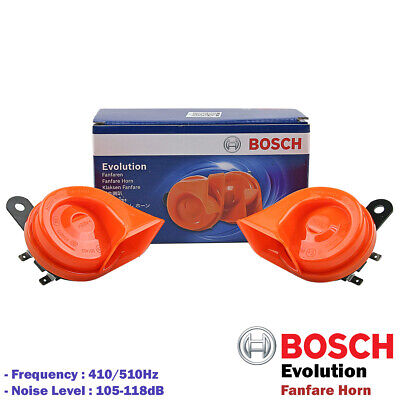 BOSCH Evolution Fanfare Twin Horn Set Orange 12V 410Hz/510Hz For Car SUV Truck""