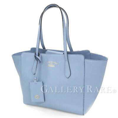 cb9477537a90 GUCCI Swing Medium Leather Light Blue Tote Bag 354408 Italy Authentic  5403578