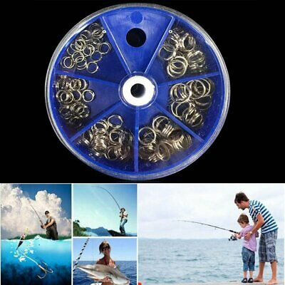 115pcs Fishing Split Rings Diameter Stainless Steel Double Loops with Box