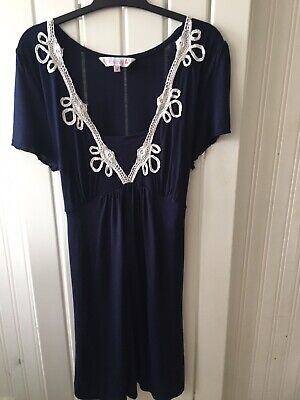 Ladies Maternity Size 8 - Navy Blue Tie Back Tunic Top By RED HERRING 🍑🍑🍑