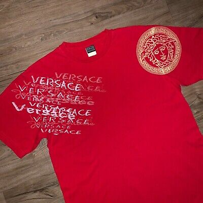 "2316c7c0 VINTAGE 90s Gianni Versace Jeans Graphic Tee T Shirt Mens L 22"" Red Medusa  Head"