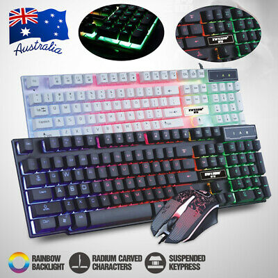 USB LED Illuminated Backlight Wired Gaming Keyboard and Mouse Set For Laptop PC