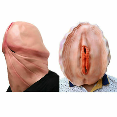 3D Penis Head & Vagina Mask Dick Fantastic Whimsey Shell Halloween Party Costume