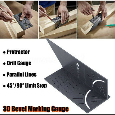 3D Mitre Bevel Angle Marking Gauge Rule Woodworking Ruler Drill Measuring Tool