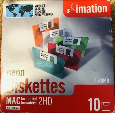 "Imation Neon MAC Formatted 2 HD 1.4 MB 3.5/"" Diskettes 10 NEW NIB NOS Computer"
