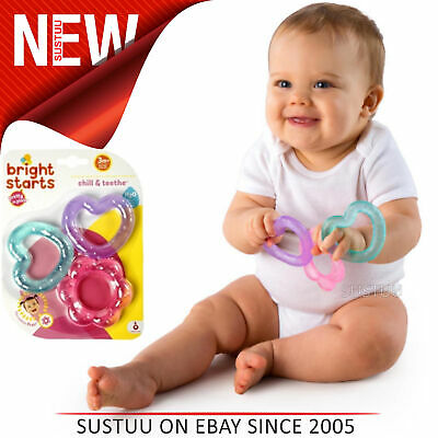 Bright Starts Pretty in Pink Chill N Teether│Kids Fun With Watefilled Dummies x3