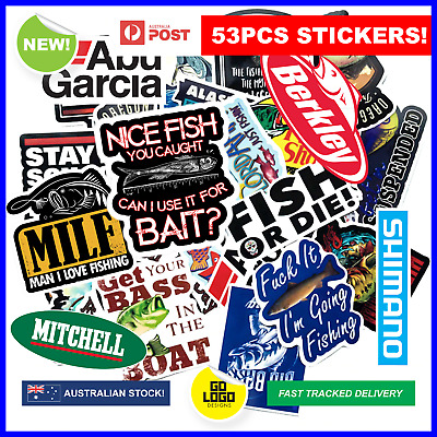 Boat STICKERS 53PCS Funny FISHING Toolbox Rod 4x4 Camping Caravan Car Ute Custom