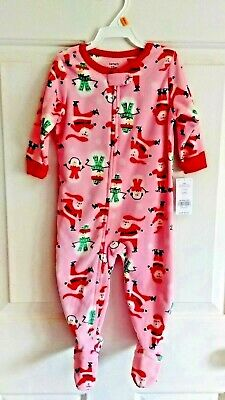 5c24de8e1 NEW Girls 4T Xmas Pajamas CARTERS Fleece Pink Footed Santa Snowman Toddler