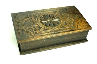 Antique Carved Beech Wood Box  [5233]