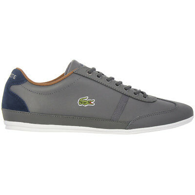 b6c0ca3e43 Lacoste Hommes Baskets Misano Sport Cuir Gris Chaussures Loisirs Neuf  CAM0046248