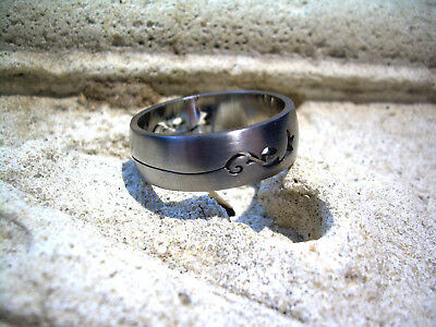 Surgical Steel 316L No Tarnish Ring Band Size 13 MB FR3 Man Woman Tribal Cut