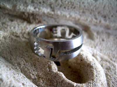 Surgical Steel Ring Band Unisex Man Woman Sz 11 MB FR2 316L Laser Cut Out Tribal