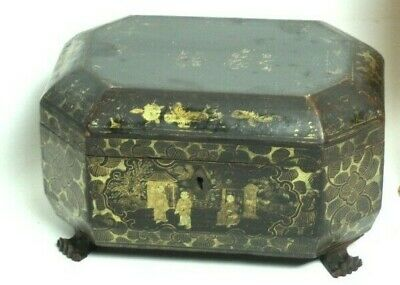 19th Century Japanese Lacquered Hand Painted Tea Caddy [5235]