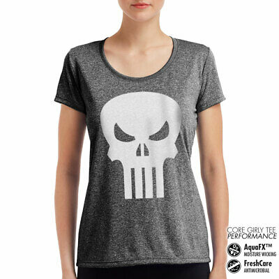 Licence Marvel Comics The Punisher Crâne Performance T-Shirt Femme S-XXL Tailles