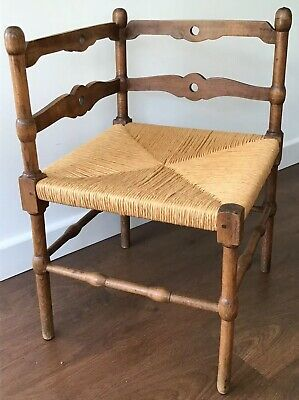 Unusual Art & Crafts Corner Chair With Rush Seat And Decorative Back Panels