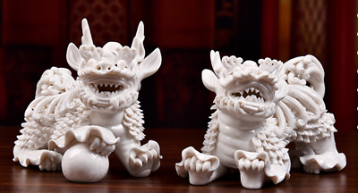 Dehua White Porcelain Dragon kylin Kirin Chi-Lin Kilin Qilin unicorn Statue Pair