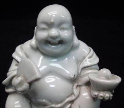 Lovely Old Chinese Laughing Buddha White Porcelain Statue Sculpture