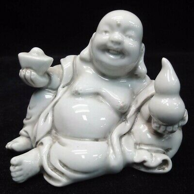 Rare Fine Chinese White Porcelain Statue Laughing Buddha Sculpture