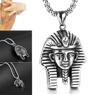 Hip Hop Mens Womens Stainless Steel Egyptian Pharaoh Pendant Chain Necklace