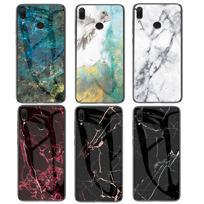 For Xiaomi Redmi Note 7 Pro 6 5 4X 6A S2 Luxury Marble Tempered Glass Case Cover