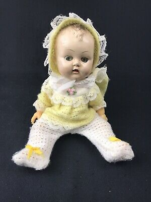 Vintage RELIABLE Made in Canada Doll Blinking Eyes Molded Hair Knit Clothes