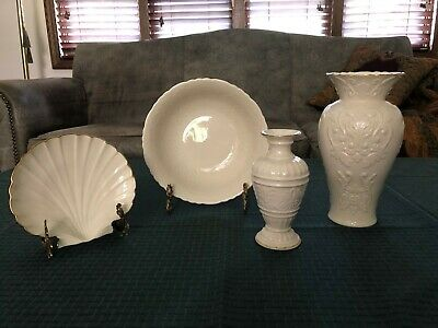 Lenox Collection of Ivory Bone China Shell Dish Two Vases and Serving Bowl