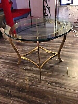 Vintage Mid Century Hollywood Regency Round Diamond Brass Glass End Table