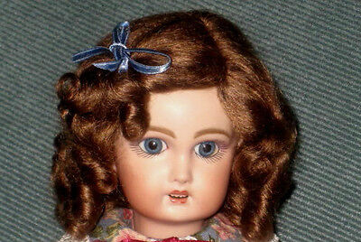 Daisy Light Brown mohair wig for antique French/ German bisque doll size 12 -13