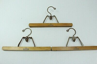 "(3) Vintage 12"" Harmony House Wooden Clothes Trouser Pant Clamp Hanger"