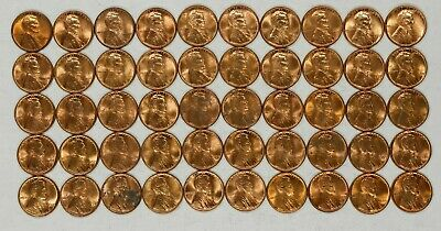 1950 P Lincoln Wheat Cent Penny 1C Choice Bu Rd / Rb Full Roll 50 Coins