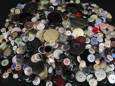 BUTTON LOT LARGE old mixed antique vintage plastic sewing craft OVER 1 POUND