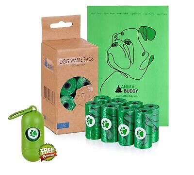 Animal Buddy Biodegradable Eco-Friendly Dog Poop Bags|120 Bags|8 Rolls|Dispenser